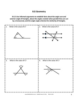 Common Core Assessments Math - 8th - Eighth Grade - Geometry 8.G with Key