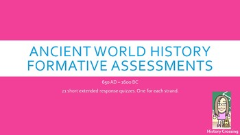 Formative Assessments for 7th Grade Social Studies:  Ancient Worlds