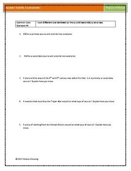 Formative Assessments for Ancient World History
