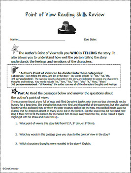 Point of View Lesson, Reading & Writing Activities + Practice Test