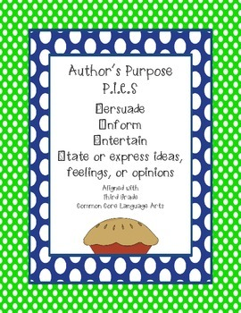 Common Core Author's Purpose-P.I.E.S