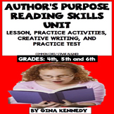 Author's Purpose Lesson, Reading Activities, Writing Projects and Test