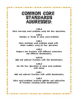 Common Core Autumn Story Problems - 26 total problems