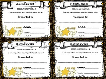 Common Core Awards: First Grade Reading Edition