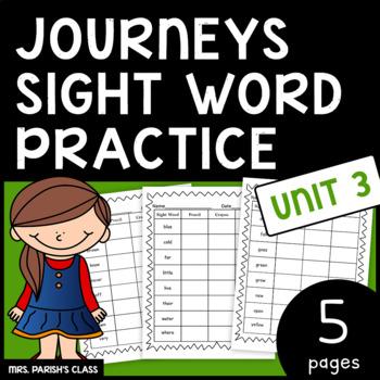 Common Core: BUNDLE HM Journeys Unit 3 sight word practice- First Grade