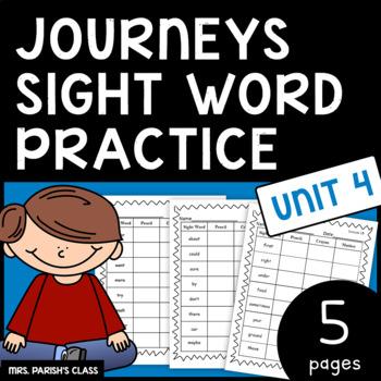 Common Core: BUNDLE HM Journeys Unit 4 sight word practice- First Grade