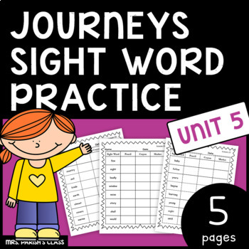 Common Core: BUNDLE HM Journeys Unit 5 sight word practice- First Grade