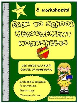 Common Core Back to School Measurement 5 Worksheets Math Center