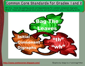 Common Core Bag The Leaves Initial Digraphs for grades 1 and 2