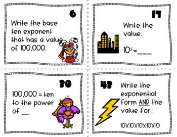 Common Core: Powers of Ten Exponent (Base 10) Scoot & Task Card Set  5.NBT.A.2