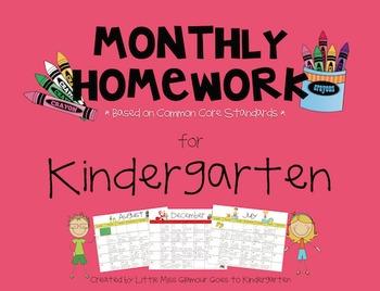 Common Core Based Monthly Homework Calendars for Kindergarten