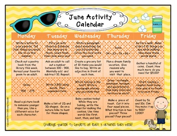 Common Core Based Summer Calendar Activities for Second Grade