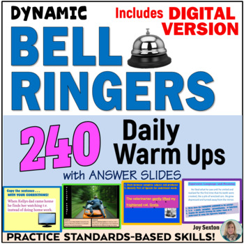 ELA Bell Ringers - 240 Daily Warm Ups with Answer Slides - Common Core