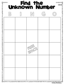 Common Core Bingo for 1st Grade {Free Sample} {Find the Unknown Number}