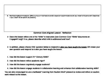Common Core Blank Lesson Plan Template grades 6-12
