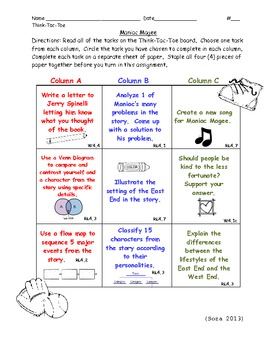 Common Core & Bloom's Taxonomy: Maniac Magee Think-Tac-Toe
