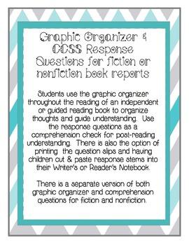 Common Core Book Report Graphic Organizer & Comprehension Questions