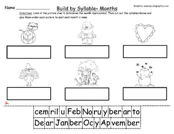 Months of the Year - Build by Syllable- Common Core