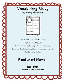 Common Core Bull Run Vocabulary Study