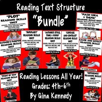 Reading Skill Lessons For All Year! Practice Tests, Passages! BUNDLE!