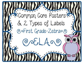 Common Core CCSS 1st Grade ELA Labels and Posters-Zebra