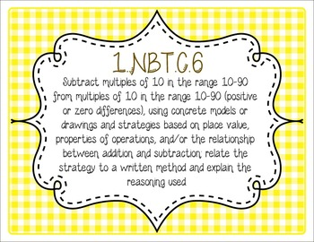Common Core CCSS 1st Grade Math Labels and Posters-Gingham