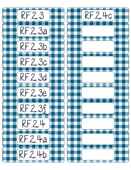 Common Core CCSS 2nd Grade ELA Labels and Posters-Gingham Print