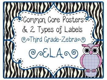 Common Core CCSS 3rd Grade ELA Labels and Posters-Zebra Print