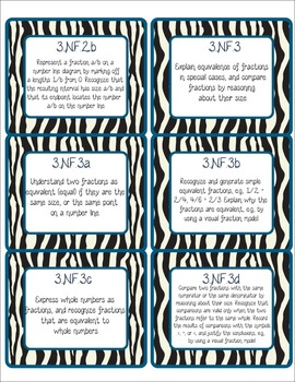 Common Core CCSS 3rd Grade Math Labels and Posters-Zebra