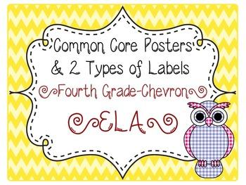 Common Core CCSS 4th Grade ELA Labels and Posters-Chevron