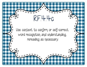 Common Core CCSS 4th Grade ELA Labels and Posters-Gingham
