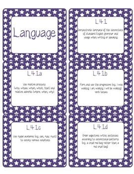 Common Core CCSS 4th Grade ELA Labels and Posters-Stars