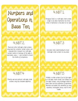 Common Core CCSS 4th Grade Math Labels and Posters-Chevron