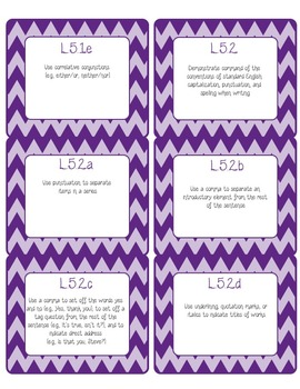 Common Core CCSS 5th Grade ELA Labels and Posters-Chevron