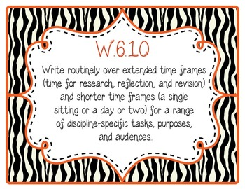 Common Core CCSS 6th Grade ELA Labels and Posters-Zebra Print