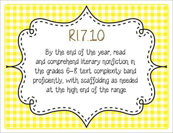 Common Core CCSS 7th Grade ELA Labels and Posters-Gingham  Print