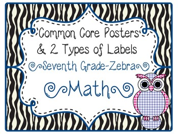 Common Core CCSS 7th Grade Math Labels and Posters-Zebra