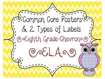 Common Core CCSS 8th Grade ELA Labels and Posters-Chevron Print
