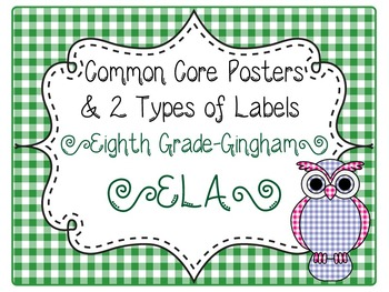Common Core CCSS 8th Grade ELA Labels and Posters-Gingham Print