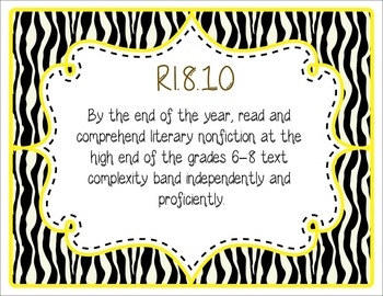 Common Core CCSS 8th Grade ELA Labels and Posters-Zebra Print