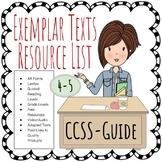 Common Core CCSS ELA Exemplar Texts Resource List Grades 4-5