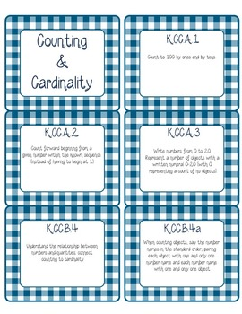 Common Core CCSS Kindergarten Math Labels and Posters-Gingham