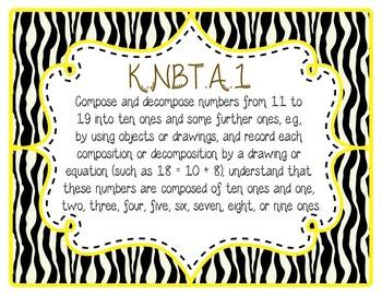 Common Core CCSS Kindergarten Math Labels and Posters-Zebra