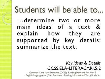 Common Core CCSS SWBAT Learning Goals Posters Grade 5 Reading Informational Text