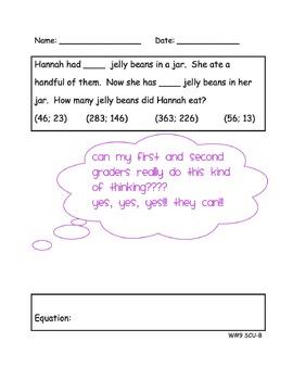 Common Core CGI Word Problems for 1st & 2nd Grade - JCU, JSU, SCU, SSU