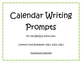 Common Core Calendar Writing Prompts