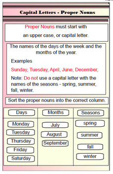 Common Core Capitalization Rules on the  Smartboard File Use of  Capital Letters