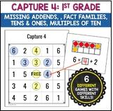 Capture 4 1st Grade Math Strategy Games