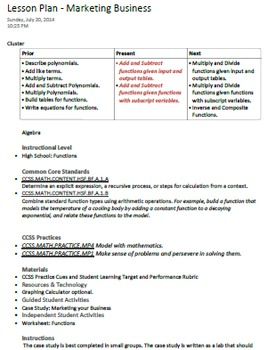 Common Core Project Based Lesson: Operations on Functions