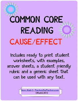 Common Core Cause and Effect Student Worksheets